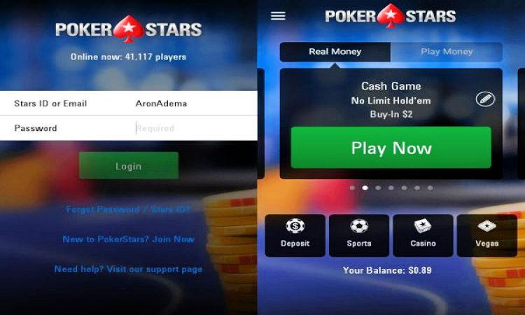 registration in the mobile application PokerStars